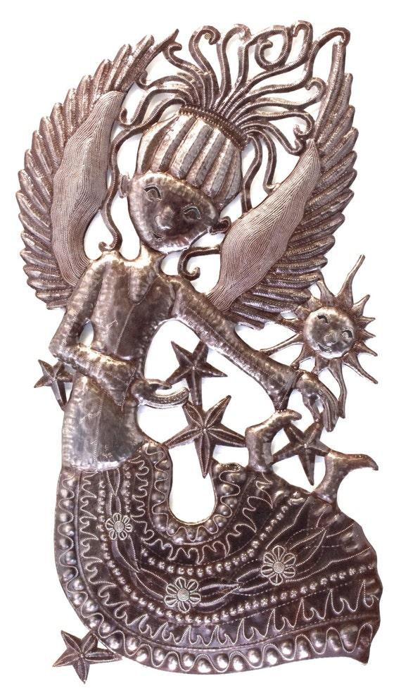 """Joyful Angel, Garden Metal Wall Art ,FairTrade Sculpture, 18"""" x 34"""""""