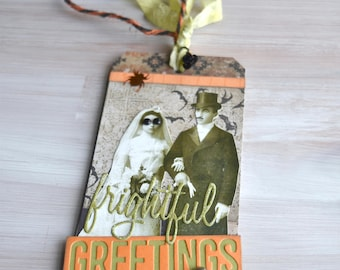 Mixed Media Halloween Keepsake Tag: Frightful Greetings