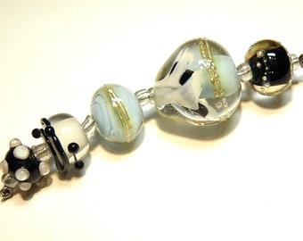 Coordinating Set of Five (5) Lampwork Borosilicate Beads: Black, Off-White, Pale Aqua Blue -- Lot 4D