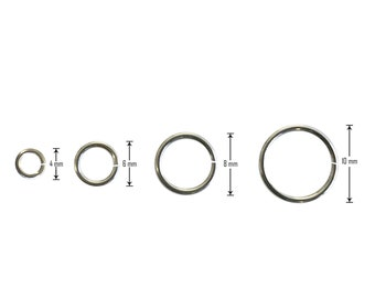 10 pcs Open Jump Ring in 4mm, 6mm, 8mm and 10mm