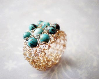 Turquoise and gold crochet ring,  crochet gold filled wire ring, Size made to order