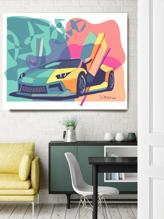 "Lamborghini, Lamborghini art print. Large Pink Teal Lamborghini Painting Canvas Art Print, Cars Wall Decor up to 72"" by Zeev Orlov"