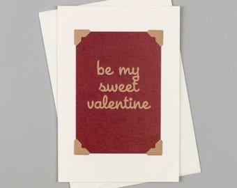 "Handmade Valentine's Card ""Be My Sweet Valentine"" in Vintage Style"