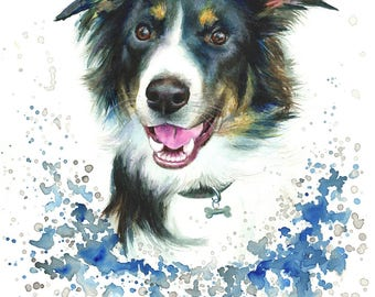 Border Collie Dog painting print, High quality print,  painting was originally made with watercolour and pastels