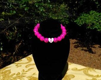glass hot pink bracelet,  kids Initial letter pink bracelet,