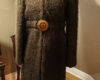 Brown Mohair Coat with Chinois Style Lining