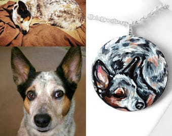 Custom Pet Necklace, Pet Portrait, Hand Painted Wood Jewelry, Sleeping Beauty, Gift for Her, Cat Nap, Dog Painting, Circle Pendant
