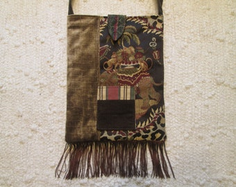 Bohemian Gypsy Retro Hippie Fringe Woodland Crossbody Bag with Elephant Animal Print Motif
