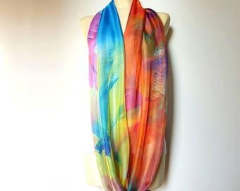 Women Shawl Boho Shawl Silk Shawl Large Silk Scarf Rainbow Scarfs Silk Scarves Spring Infinity Scarf 12i Mom Gift from Daughter from Husband