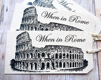 Italian Wedding Favor Tags When in Rome Italy Destination Wedding Colosseum