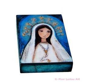 Our Lady of Lourdes with Rosary -  Giclee print mounted on Wood (4 x 5 inches) Folk Art  by FLOR LARIOS