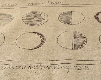 Linen rug hooking pattern - Moon Phase - primitive linen pattern - hand drawn pattern - 36 x 20 inches