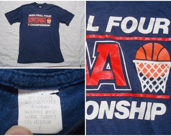 Vintage Retro Men's 80's 1986 NCAA Basketball Final Four Championship Blue Red Tee shirt Short Sleeve Small Made in USA