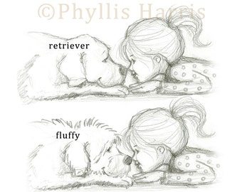 Little girl and her dog - Nose to nose - Pencil Sketch