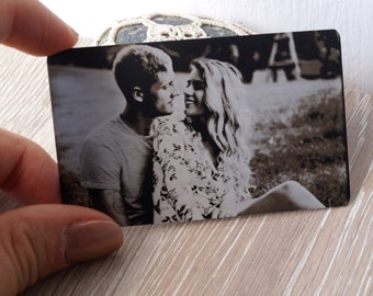 Metal wallet insert card, real photo engraved wallet card, custom wallet insert, your picture engraved on one side and message on the back