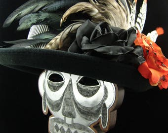 Voodoo Day of the Dead Headdress and Top Hat Set in Various Shades of Orange