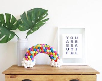 Original Felt Ball Rainbow / Felt Balls, Pom Poms, Wool, Multi Color, Clouds, Kids Room, Nursery, Home Decor, Happy, Festive, Dresser Decor