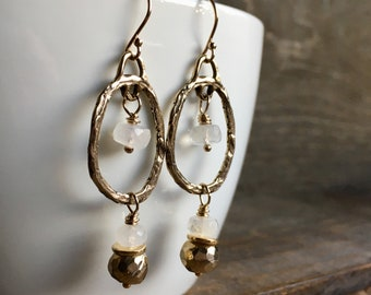 Pyrite Moonstone Gold Hoop Earrings, Gemstone Jewelry, Handmade in Alaska, Gift for Her, Gift for Mom