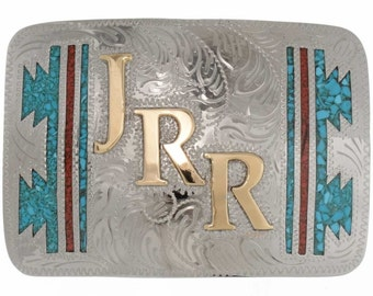 Custom Gold Initials Belt Buckle Inlaid Turquoise Coral Navajo Jewelry