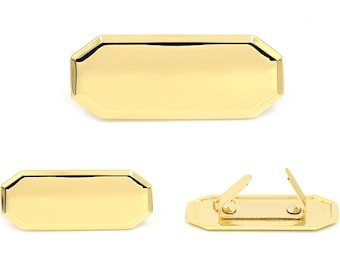 Blank Metal Name Tags Metal Labels Luggage Tags Studs Gold B0332 5 pcs.