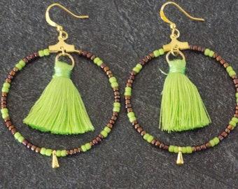 Neon Green hoop earrings and assorted beads