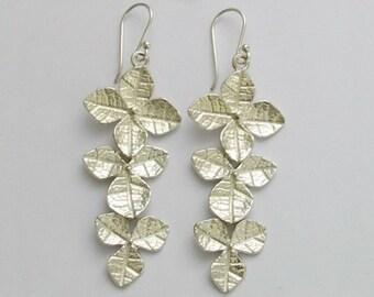 Leaf earrings, long earrings, dangle silver earrings, nature silver earrings, sterling silver earrings, botanical earrings - Impulse E2144