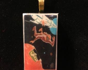 Soviet astronaut spaceship sputnik Domino pendant necklace - vintage matchbox label
