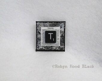 Letter T Upcycled Black Scrabble Tile Magnet