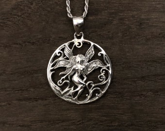 Fairy pendant etsy silver fairy pendant 925 sterling silver aloadofball Gallery