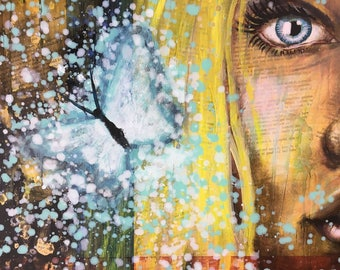 Butterfly Dreams Original Painting by artist Rafi Perez Mixed Medium and Gold Leaf on Canvas 24X18