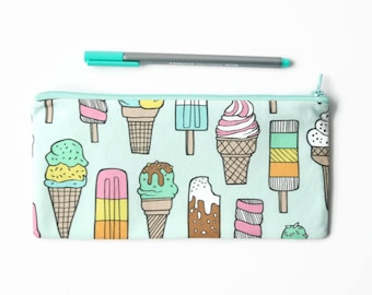 Ice Cream Pencil Case, Back to School, Pastel Lined Pencil Bag, Candy Zipper Pouch, Gift for Her, Stocking Filler, Make Up Bag, Brush Holder