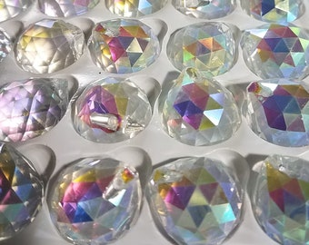 Set of 5 - 20mm AB Crystal Colored Balls - 1 Hole
