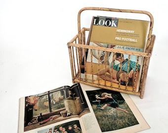 bamboo magazine holder | vintage wicker rattan magazine rack | boho home