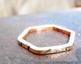 Bronze Decoratively Stamped Hexagon Ring (Size 5.75), Hexagonal Bronze Ring, Bronze Stacking Ring, Hex Ring, Hexagon Ring