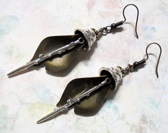 Silver and Brass Boho Earrings (3367)