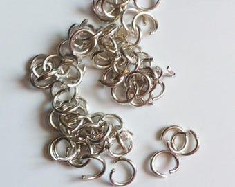 50 silver plated nickel free 6 mm brass jump rings