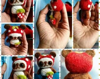 Panda Bear, Strawberry Panda Bear, OOAK, Collectible