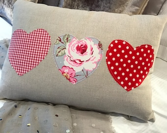 Romantic Love Hearts Shabby Chic Pink Floral Long Linen Cushion