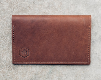 checkbook cover + holder in brown leather