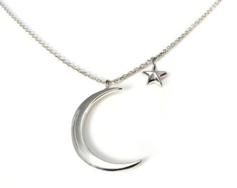 Sterling Silver Pendant Moon & Star Curb Necklace Design Fine Chain