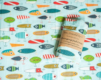 Crib Sheet | Changing Pad Cover | Boppy Pillow Cover| Boy Baby Bedding | Lure Crib Sheet | Fishing Lure Crib Bedding | Fishing Theme Nursery