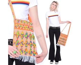 Vintage 60s 70s RAINBOW Beaded Fringed Mod Hippie Boho Rave Shoulder Bag Purse Tote *Free Shipping U.S.* vtg