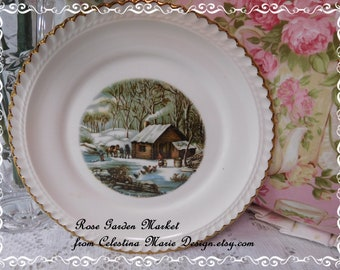 A Home In The Wilderness Plate, Beautiful Winter Scene with Gold Rim, Display, Currier and Ives, Collector Plate, ECS