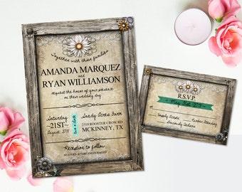 Invitation RSVP carte Marguerite blanche fleurs DIY Invitation mariage rustique champêtre mariage papeterie Suite Floral Invitation de mariage rustique