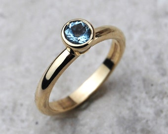 Aquamarine Solitaire Ring   Rose Gold Ring   Engagement Ring   March Birthstone Ring   Solitaire Ring   Aquamarine Yellow Gold Ring