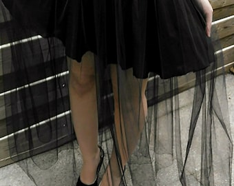 Long black tulle skirt Gothic witch evening event