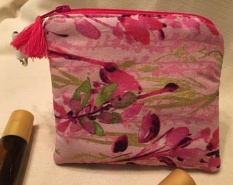 Floral Essential Oil Bag with Keyring (holds 3 bottles)