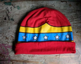 Wonder Woman Slouchy Hat Upcycled Hat Beanie Baggy Hat Slouch Beanie Hipster Beanie Oversized Beanie Slouchy Beanie Boho Beanie Knit Slouchy