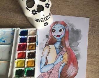 SALLY nightmare before Christmas inspired painting print