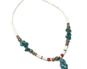 Heshi Bead and Turquoise Nugget Necklace with Silver Accents